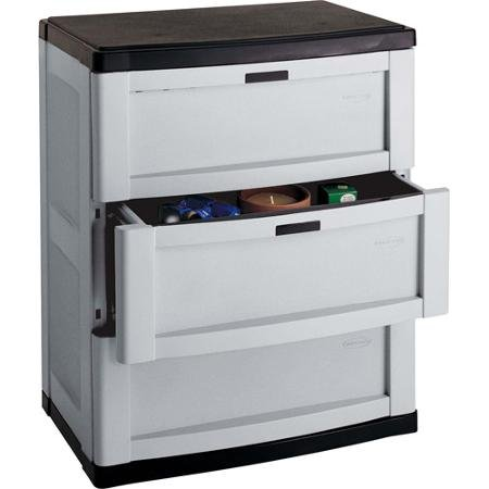 Storage Trends 3-Drawer Cabinet Durable resin