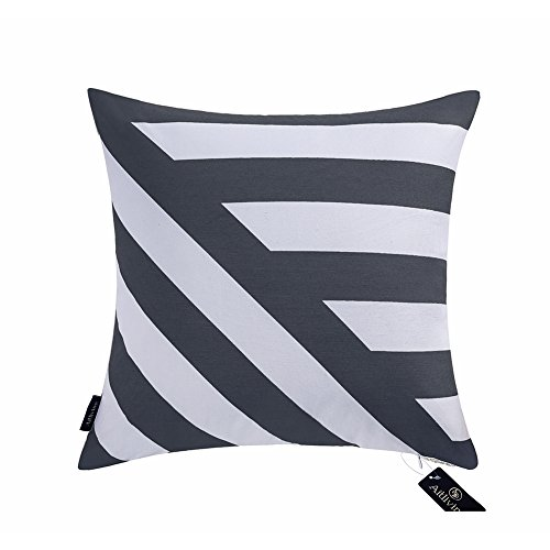 Decorative Pillow Cover Cushion Cover Shell Slate Blue Navy Geometric Stripes 18x18 inch Cotton Canvas Print Zigzag Twisted Striped Decor Square Throw Pillowcase 1PC 45.5x45.5cm Muted Dark Blue