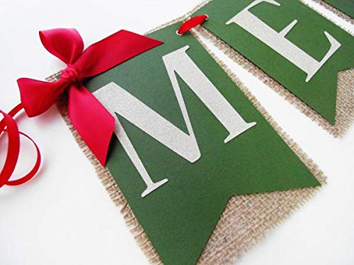 Merry Christmas Burlap Banner Christmas Mantle Decor Holiday Banner Handmade.