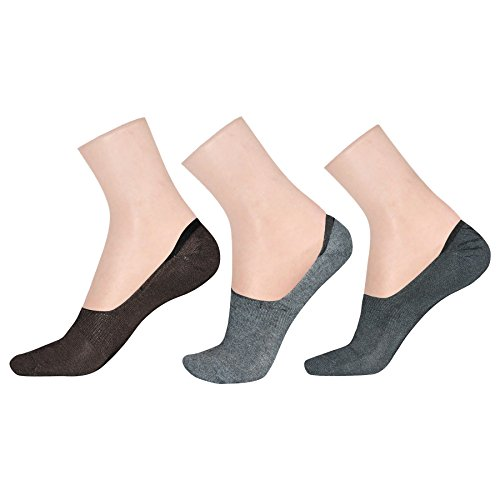 LA SMITH Men #39;s Cotton Blend No Show Socks  Pack of 3  Invisible Loafer Socks