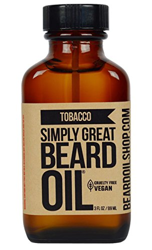Simply Great Beard Oil – TOBACCO Scented Beard Oil – Beard Conditioner 3 Oz Easy Applicator – Natural – Vegan and Cruelty Free Care for Beards – America's Favorite