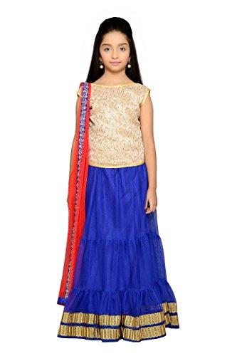 - K&U Girls' Blue Sleeveless Net Lehenga Choli Set