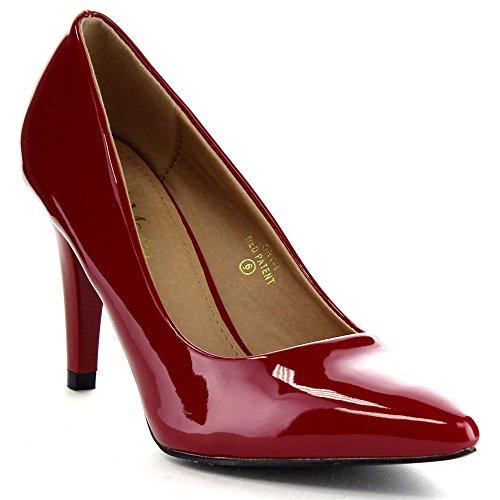 Bella Marie Lory-1 Dames Spitse Neus Oversluitend Op Office Dress Pumps, Kleur: Rood, Maat: 6.5