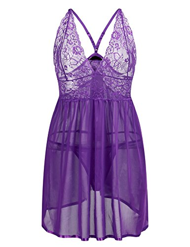 IN'VOLAND Plus Size Sexy Halter Lace Ruffles Strap Chemise Babydoll Lingerie Set Nightwear for Women