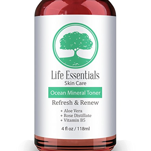 Ocean Mineral Toner - Facial Cleanser - Contains Rose Water, Aloe, Witch Hazel & Vitamin B - Best Toner For Face - Anti Aging, Acne For Sensitive & Oily Skin 4oz Bottle (Best Face Oils For Anti Aging 2019)
