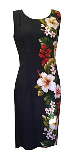 Jade Fashions Inc. Women Short Rayon Hawaiian Black Hibiscus Tank Dress-Black-Large