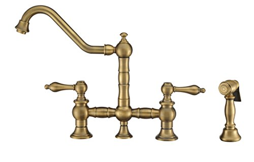 Whitehaus Collection WHKBTLV3-9201-NT-AB Vintage III Plus Bridge Faucet with Long Traditional Swivel Spout, Lever Handles and Solid Brass Side Spray, One Size, Antique