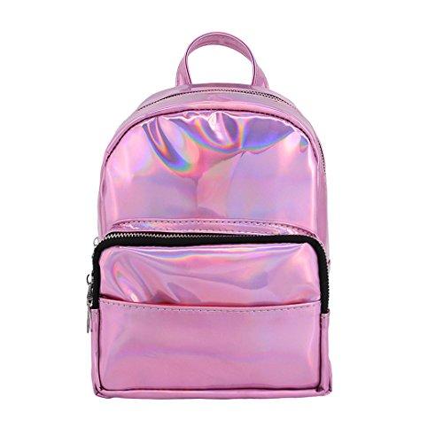 Novias Boutique Women Shiny Hologram PU Leather Mini Bag Shoulder Bag School Bag Backpack(Silver) Pink