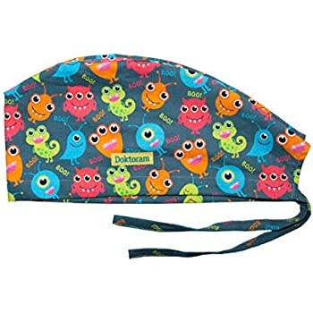 DOKTORAM Surgical Scrub Cap Medical hat Funny Prints Skull Cap (Viruses  Color) da442ee474b