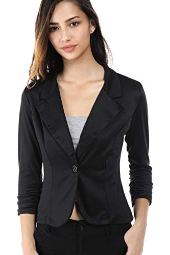 One Womens Button Jacket - Fashion Magazine Womens One Button Office Knit Blazer Jacket,Made in USA (Small-3XL) Black