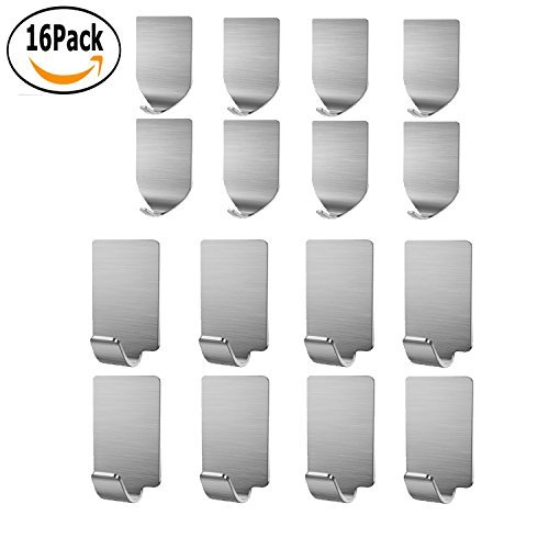 Adhesive Hooks, KOSIN Heavy Duty Wall Hooks Stainless Steel Ultra Strong Waterproof Wall Hangers for Robe, Coat, Towel, Keys, Bags, Home, Kitchen, Bathroom - 16 pack