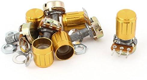 5pcs 200K OHM Linear Taper Rotary Potentiometer 200KB B200K Pot w Knobs