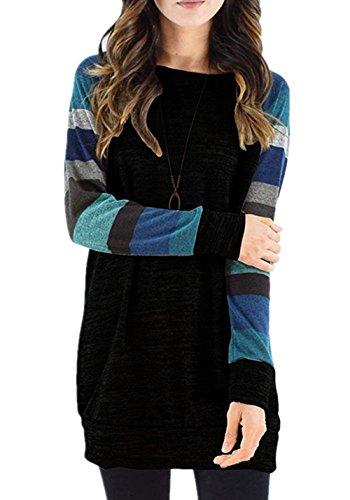 Thermal Top Girls Long Sleeve (honie girl Long Sleeve Womans Tunic Top Casual Thermal Long Blouse Tee Shirts Black X-Large)