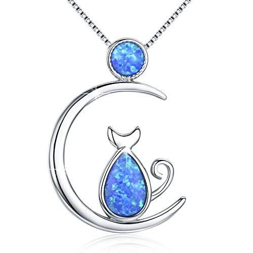Cat Necklace, Opal Necklace S925 Sterling Silver Cute Cat and Moon Necklace Gift for cat Lover, -