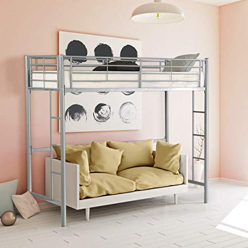 Safstar Twin Loft Bed Heavy Duty Metal Bunk Bed with Ladders Space Underneath for Boys Girls Teens Kids Bedroom Dorm (Silver)