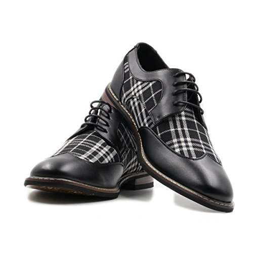 Mens Lace up Plaid Oxford Wing Tip Dress Classic Shoes