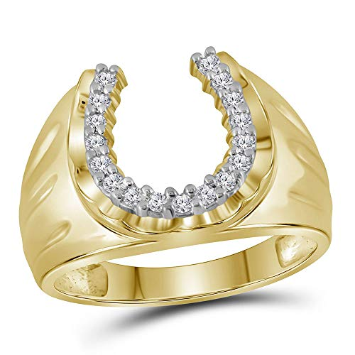 Dazzlingrock Collection 10kt Yellow Gold Mens Round Diamond Horseshoe Ring 1/4 Cttw