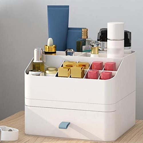 LFOZ 引き出し式化粧品収納ボックス化粧台仕上げボックス化粧品スキンケアリップスティックマスクラック取り外し可能なプラスチック素材シリコンハンドルグレーブルーピンク (Color : Blue)