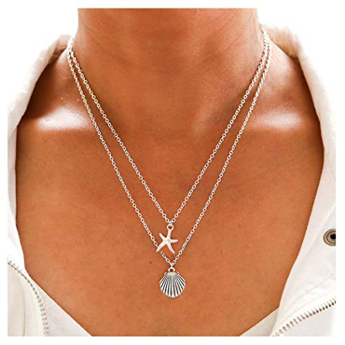 Tgirls Boho Layered Necklace with Starfish and Shell Pendant for Women and Girls XL-64 (Silver)