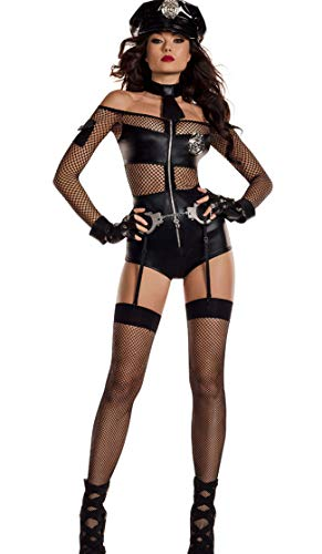 Women's Babydoll Transparent Mesh Lingerie Faux Leather Bodysuit Zipper Playsuit One Piece Halter Stretch Bodysuit Wet Look Sexy Babydoll Mini Piece Teddy Lingerie with Tie,Handcuffs,Hat and Gloves,Bl ()