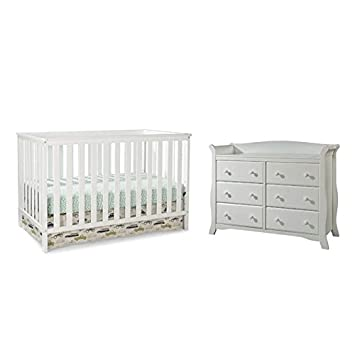 Amazon.com : Home Square 2 Piece Nursery Furniture Set With Crib And  Dresser In White : Baby