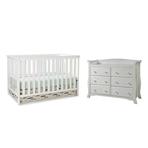 (Home Square 2 Piece Nursery Furniture Set with Crib and Dresser in White)