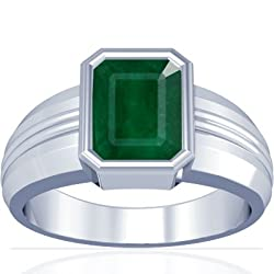 Platinum Emerald Cut Emerald Men's Ring