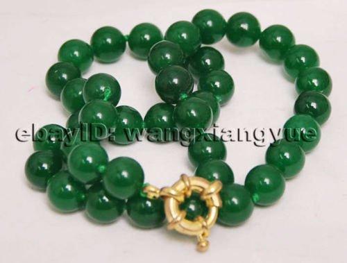 Gozebra(TM) 10MM Natural Green Chalcedony Gemstone Round Beads Jewelry Necklace 18