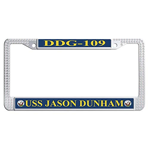 Hensteelna U.S. Navy Naval Vessel Glitter Crystal Auto License Tag Holder USS Jason Dunham DDG-109 Sparkle Crystal License Frame(White,1 pic, 6' x 12' ()
