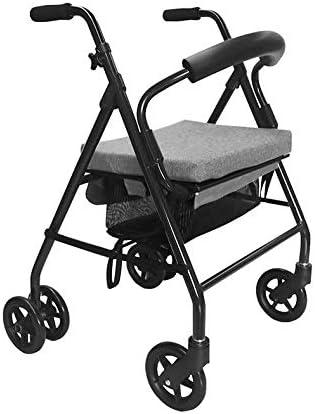 KMINA - Andadores ancianos plegable, Andadores adultos con asiento, Andadores ancianos 4 ruedas, Andadores ancianos frenos por presion, COMFORT Gris Freno Presión