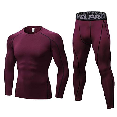 - Minghe Men's 2pcs Thermal Long Johns Cool Dry Compression Set Baselayer Top Bottoms Wine red M