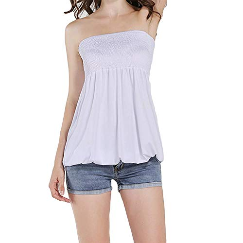 Women Sleeveless Tube Top Strapless Blouse Stretch Pleated Tunic Tanks Tops for Womens (White,M)
