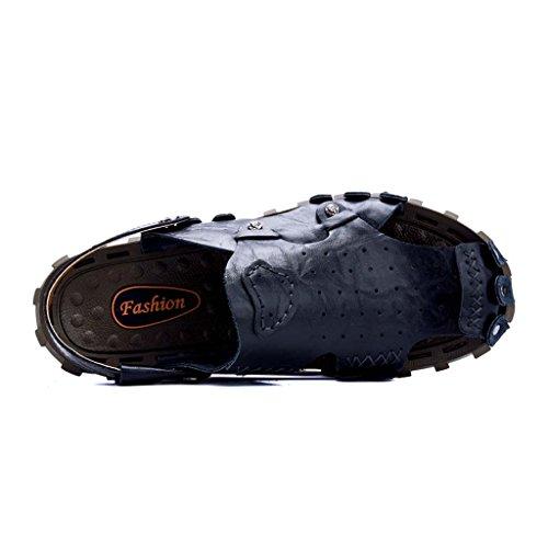 ZXCV Zapatos al aire libre Men 's Shoes sandalias de cuero zapatos de playa Men' s casual transpirable cuero Open - toed Sandals personalidad Azul claro