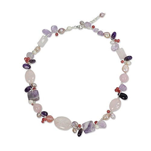 NOVICA Cultured Freshwater Pearl Necklace with Amethyst and Varied Quartz, 17 , Lilac Whisper
