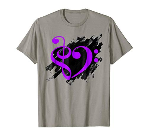 Treble Clef + Bass Clef Musical Heart Grunge Music Lover Purple Notes Bassist T-Shirt
