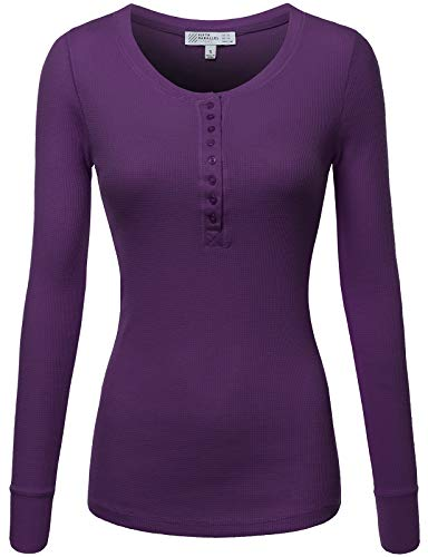 ve Thermal Henley T-Shirt Purple L ()