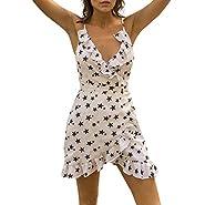 PASATO Women Sling Star Printed Plus Size Dot Deep V-Neck Sleeveless Ruffles Camis Loose Mini Party Dress