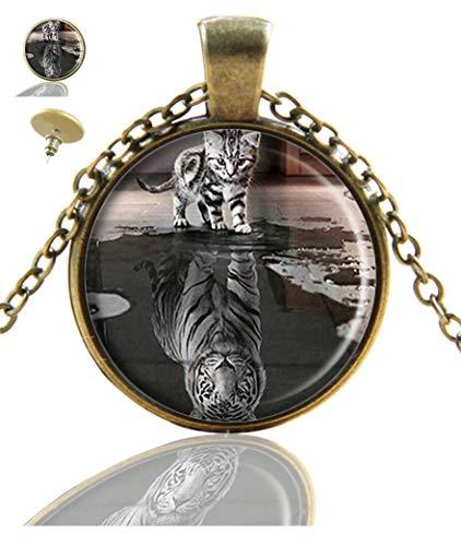 Youroom Custom Fashion Retro Bronze Pendant Necklace Stud Earring Jewelry Glass Necklace Set (Kitten & Tiger)