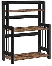 SONGMICS Kruidenrek met 3 niveaus, keukenplank, opbergrek, voor aanrecht, bamboerek, voor keuken, eetkamer, kantoor, vintage bruin-zwart OFS047B01