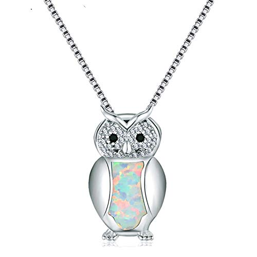 - QMM necklace Pendant Cute Pendants White Fire Necklaces for Women 925 Sterling Silver Filled Inlay Crystal Animal Choker