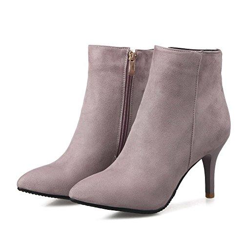 VogueZone009 Damen Blend-Materialien Hoher Absatz Rund Zehe Rein Reißverschluss Stiefel, Gelb, 34