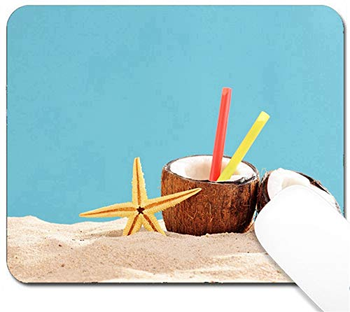 MSD Mouse Pad with Design - Non-Slip Gaming Mouse Pad - Image ID 30698107 Exotic Cocktail in a Coconut Shell on a Sandy Surface on Blue backgro