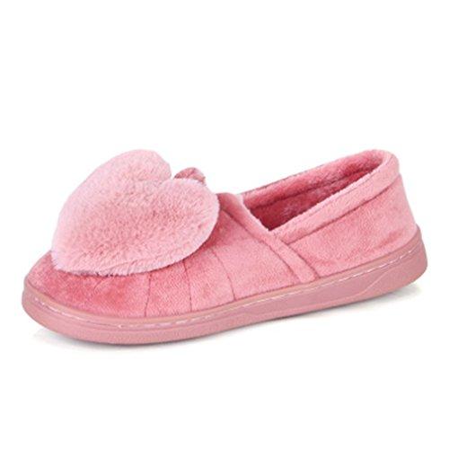 Pantoufles Chaudes Dhiver De Femmes De Giy, Pantoufles Dintérieur De Filles De Filles, Pantoufles Maison / Coton Doux Anti-dérapant Rose