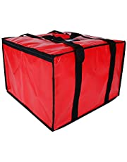 """Reusable Insulated Pizza Carrier Bag for Food delivery -Foldable Heavy Duty Food Warmer Grocery Bag for Camping Catering Restaurants UberEats(Fit 18""""Pizza)"""
