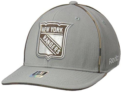 NHL New York Rangers Men's SP17 Gray Camo Structured Flex Cap, Gray, - Structured Cap Flex