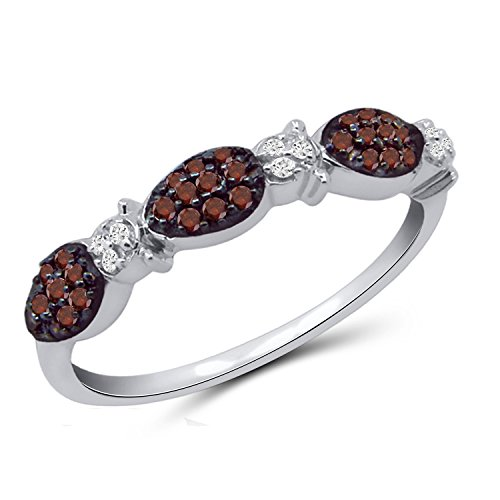 (Jewelexcess 1/4 CTW Red & White Diamond Ladybug Ring in Sterling)