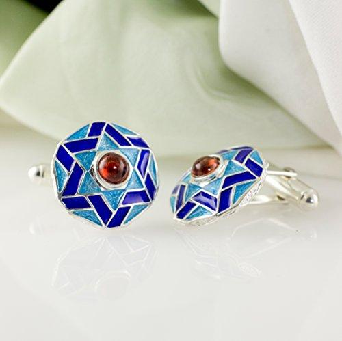 Star of David Cufflinks Judaica Jewelry for Men Silver Enamel Blue Cufflinks Magen David w Garnet Cufflinks Bar Mitzvah Jewish Gift for Him