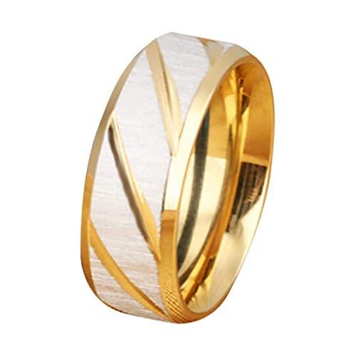 (Sinwo Women Men Unisex New Stainless Steel Ring Betrothal Engagement Rings Geometric Type Titanium Steel Ring (8,)