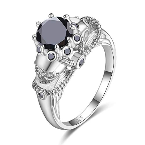 Psiroy 925 Sterling Silver Created Black Spinel Filled Skull Ring for Women Size 7