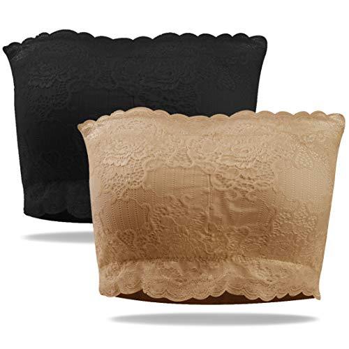 (Soar Sports Women's Wireless Seamless Cupped Bandeau Tube Tops Plus Size,XL Lace Black&Beige)